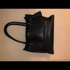 Kate Spade Black leather tote w/ red felt insert
